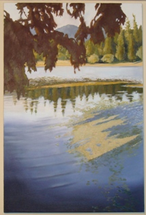 painting in my studio by Jake Arnautoff - Lake Kathleen