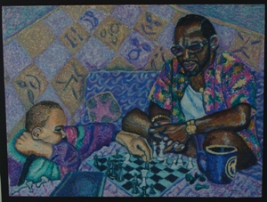 Tony and my son YiAn playing chess ~ painting by bhh