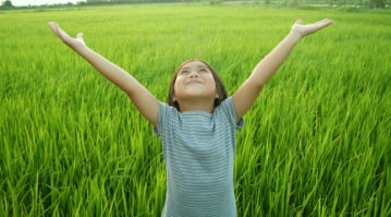 little girl happy